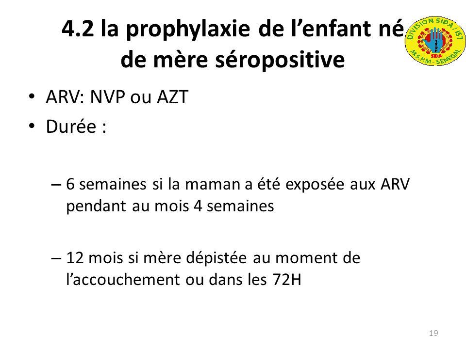 4.2 la prophylaxie de l'enfant né de mère séropositive