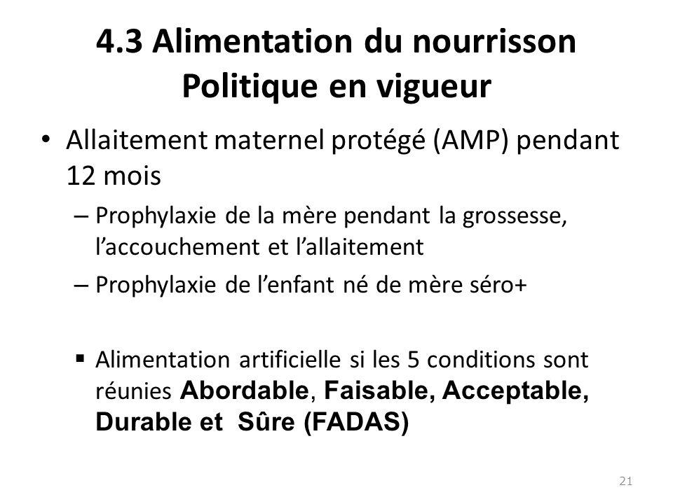 4.3 Alimentation du nourrisson Politique en vigueur