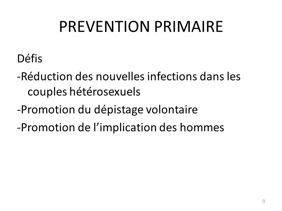 PREVENTION PRIMAIRE Défis