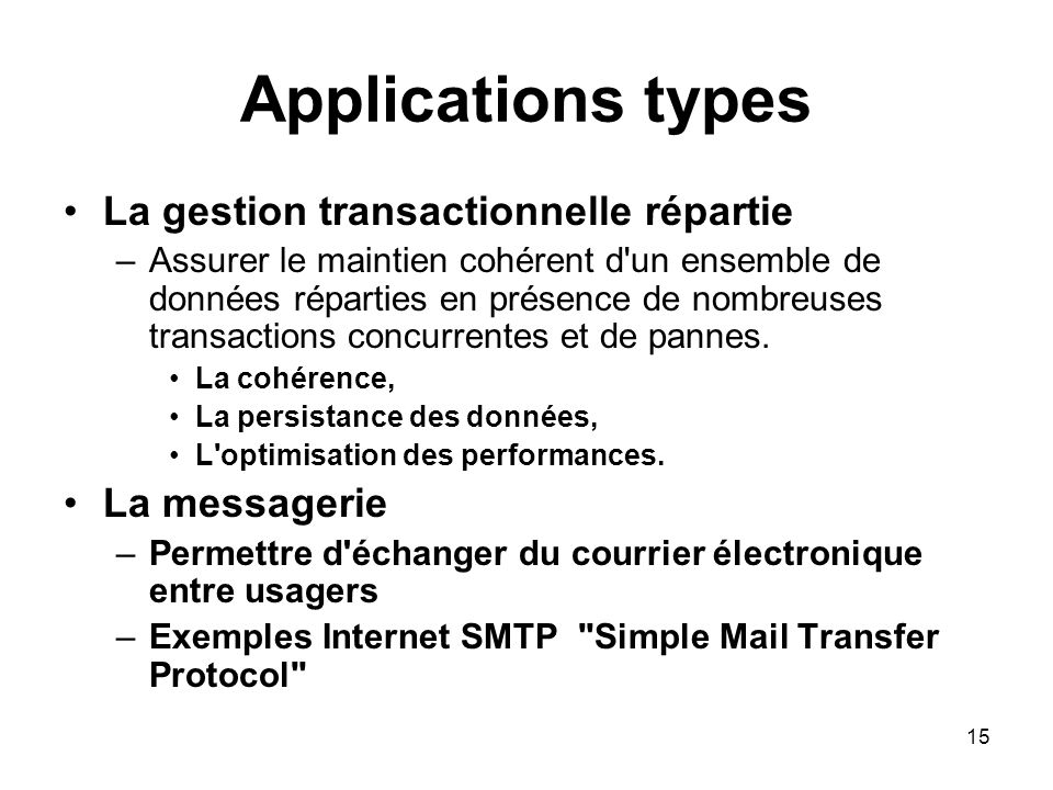 Applications types La gestion transactionnelle répartie La messagerie
