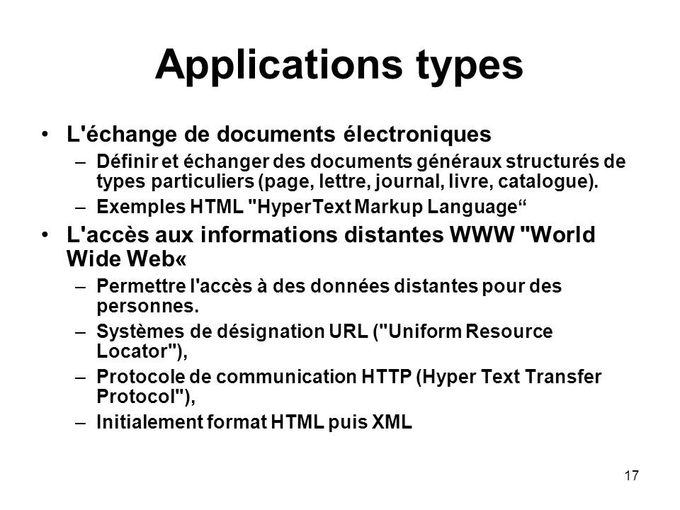 Applications types L échange de documents électroniques