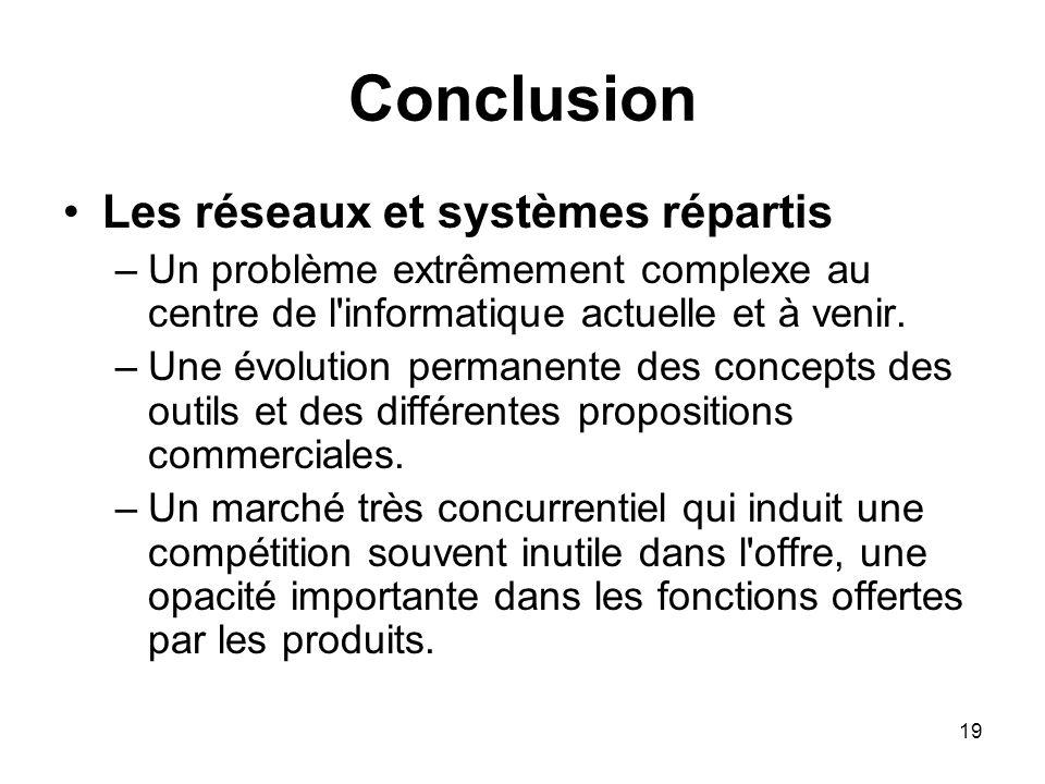 Conclusion Les réseaux et systèmes répartis