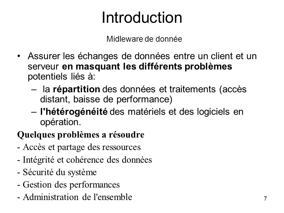 Introduction Midleware de donnée