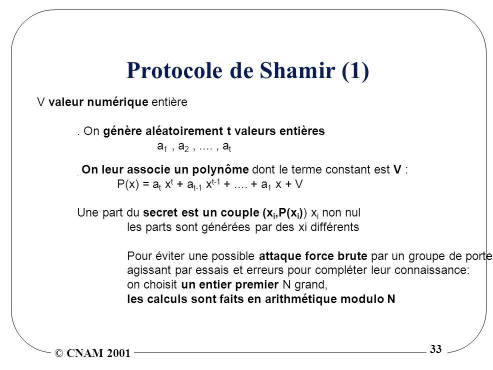 Protocole de Shamir (1) V valeur numérique entière