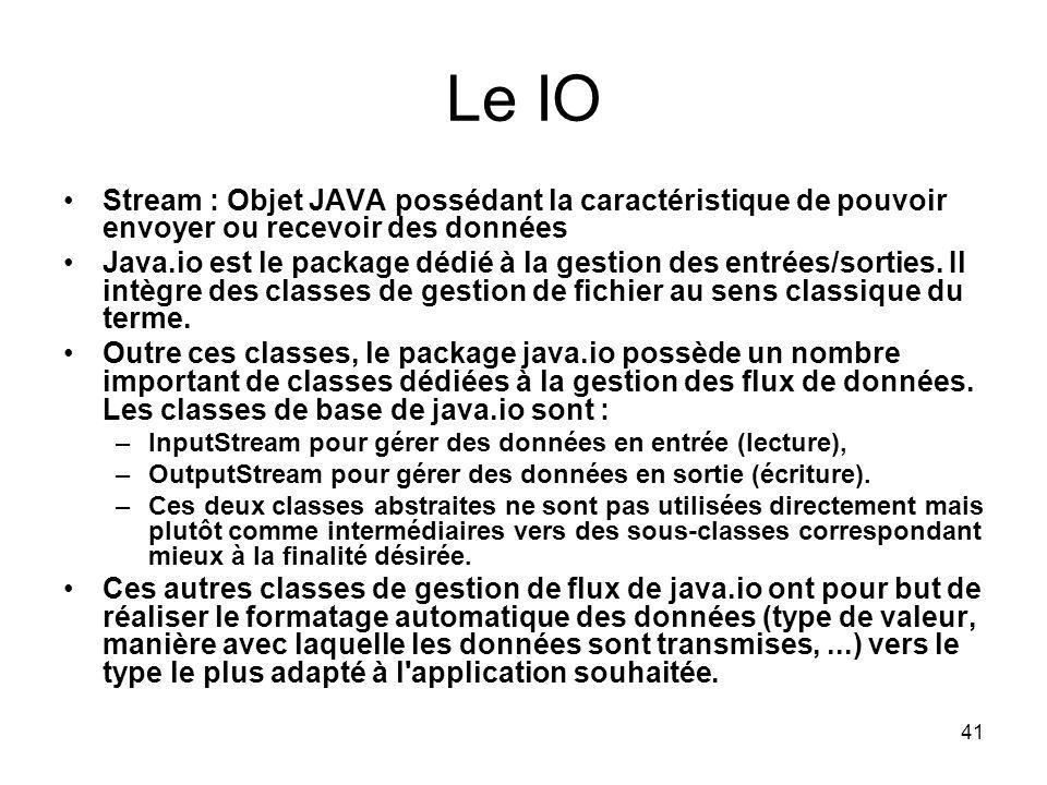 Le IO Stream : Objet JAVA possédant la caractéristique de pouvoir envoyer ou recevoir des données.