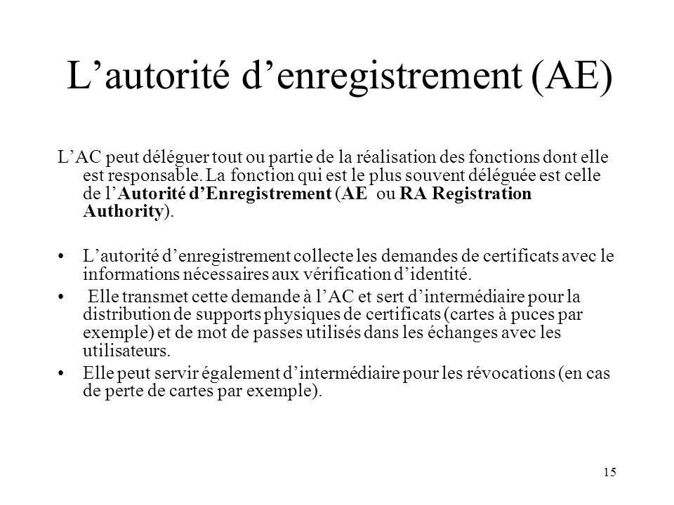 L'autorité d'enregistrement (AE)