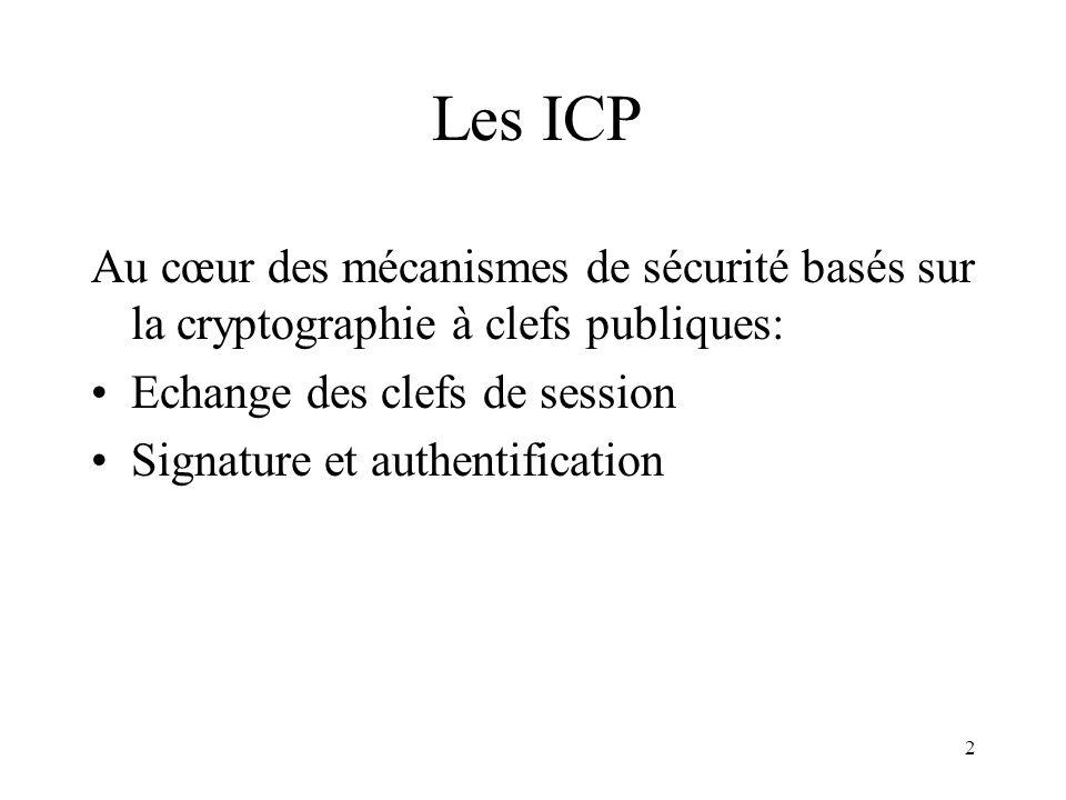 Les ICP Au cœur des mécanismes de sécurité basés sur la cryptographie à clefs publiques: Echange des clefs de session.