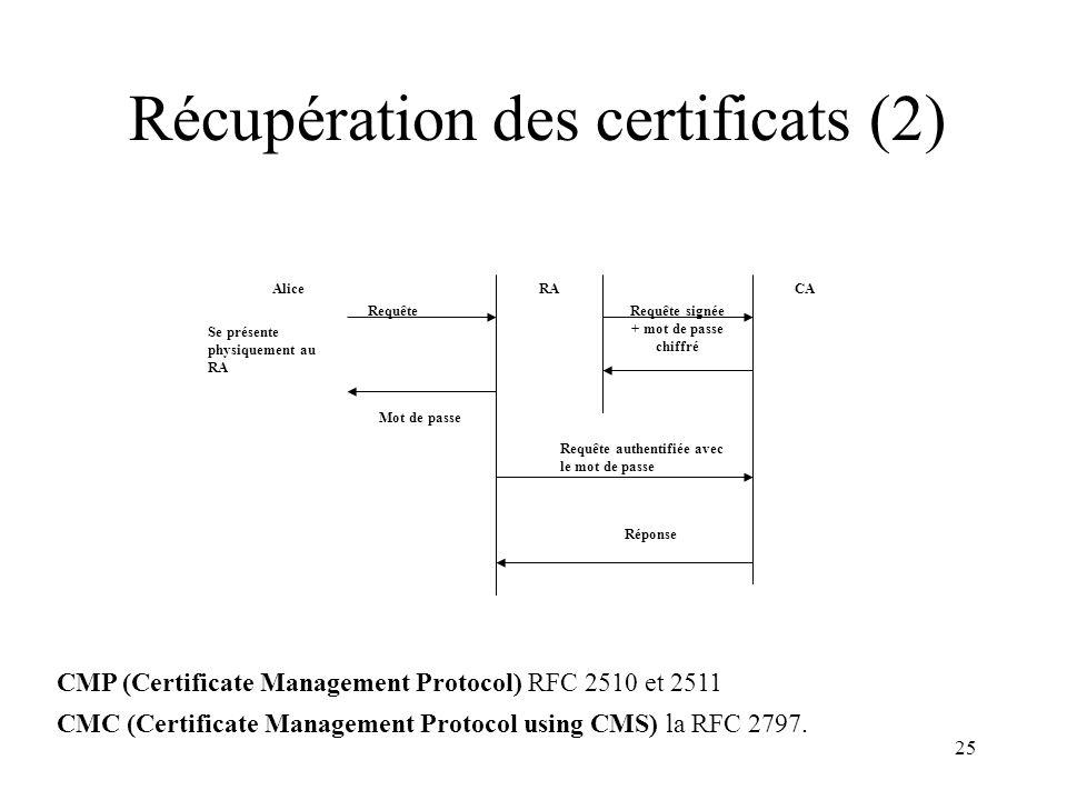 Récupération des certificats (2)