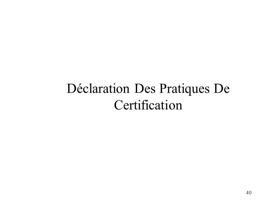 Déclaration Des Pratiques De Certification