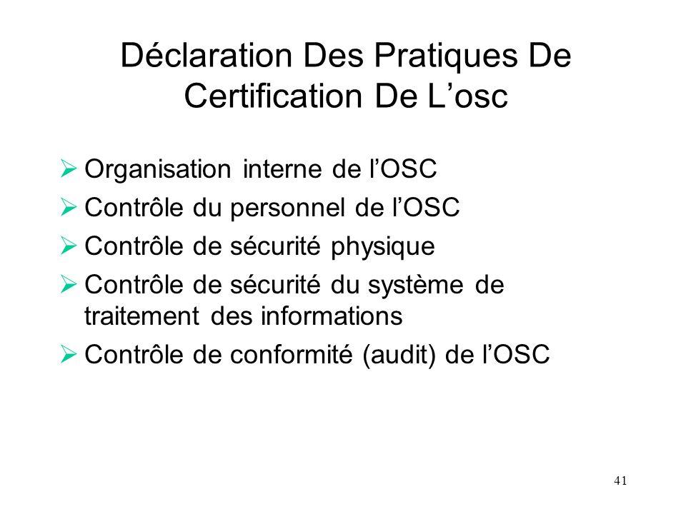 Déclaration Des Pratiques De Certification De L'osc