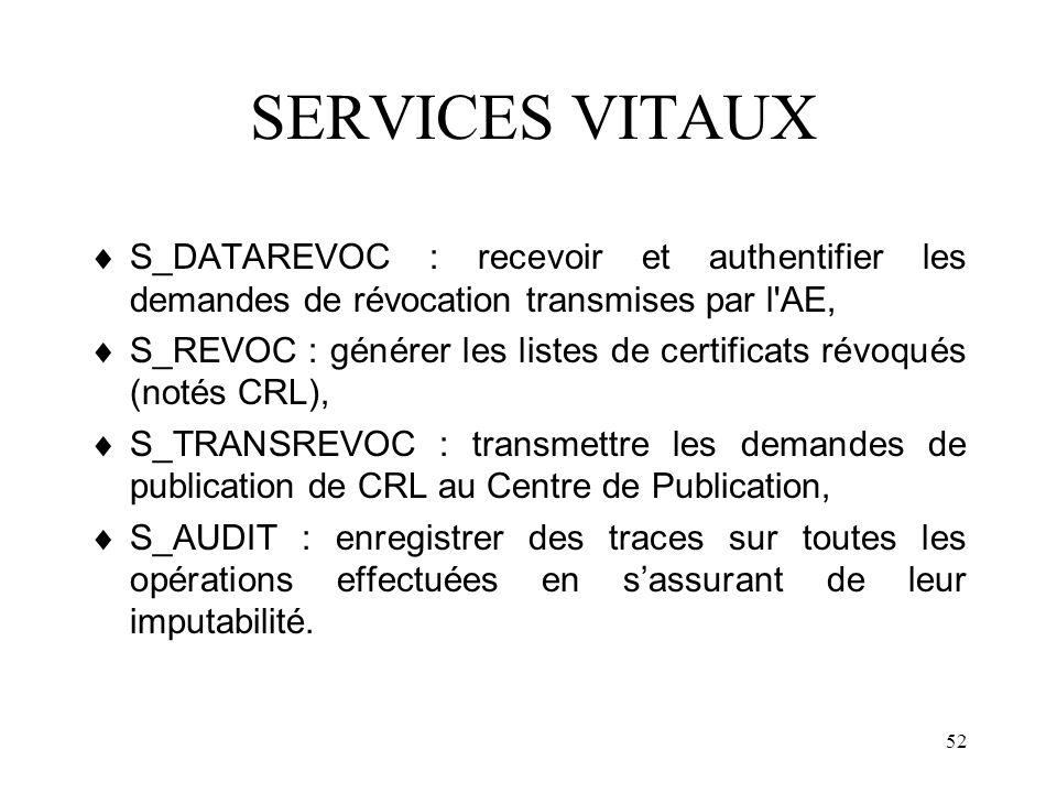 SERVICES VITAUX S_DATAREVOC : recevoir et authentifier les demandes de révocation transmises par l AE,