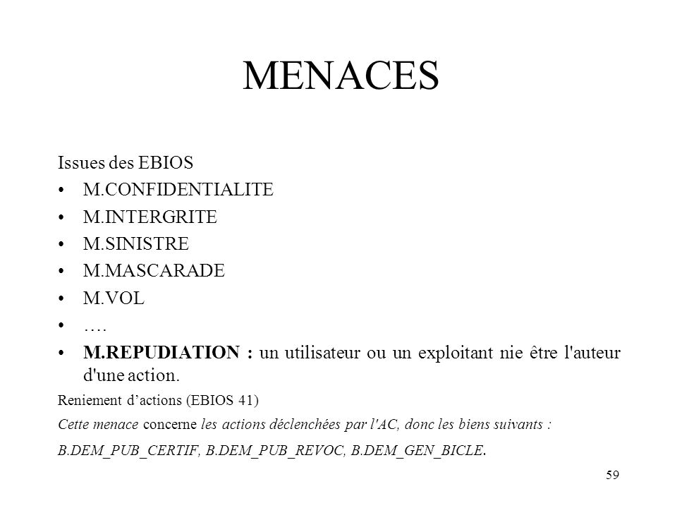 MENACES Issues des EBIOS M.CONFIDENTIALITE M.INTERGRITE M.SINISTRE
