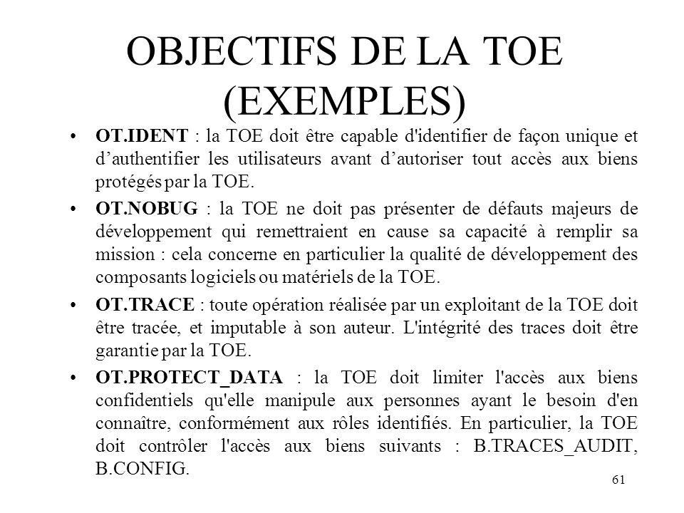 OBJECTIFS DE LA TOE (EXEMPLES)