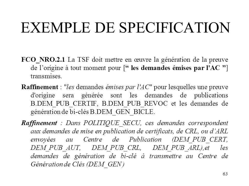 EXEMPLE DE SPECIFICATION
