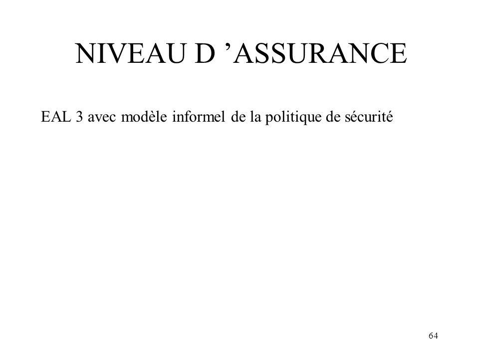 NIVEAU D 'ASSURANCE EAL 3 avec modèle informel de la politique de sécurité