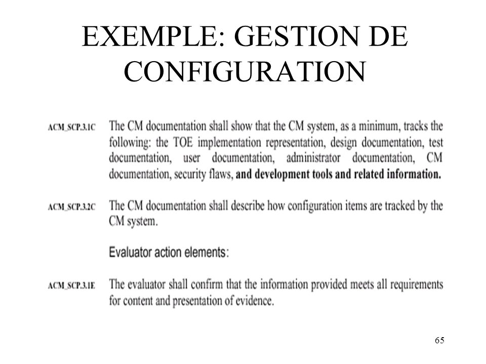 EXEMPLE: GESTION DE CONFIGURATION