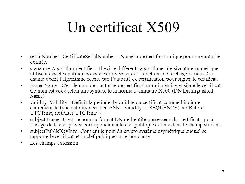 Un certificat X509 serialNumber CertificateSerialNumber : Numéro de certificat unique pour une autorité donnée.