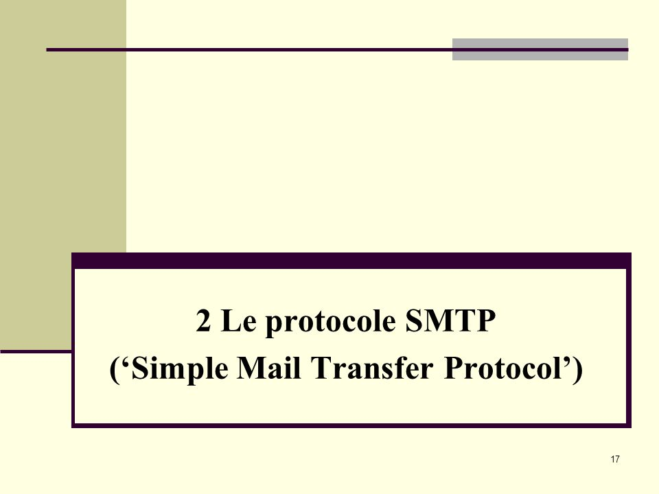 2 Le protocole SMTP ('Simple Mail Transfer Protocol')