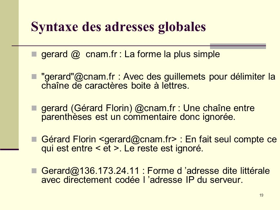 Syntaxe des adresses globales