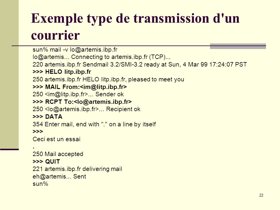 Exemple type de transmission d un courrier