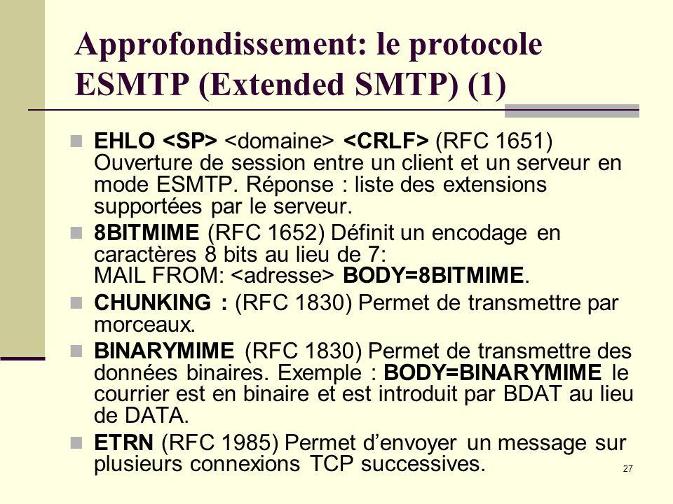 Approfondissement: le protocole ESMTP (Extended SMTP) (1)