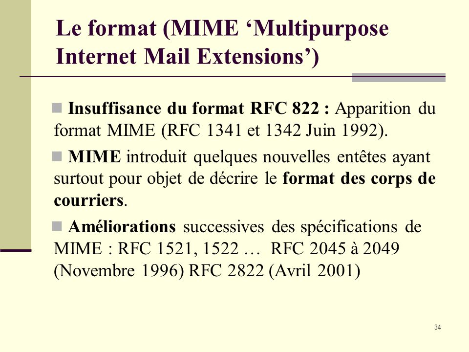 Le format (MIME 'Multipurpose Internet Mail Extensions')