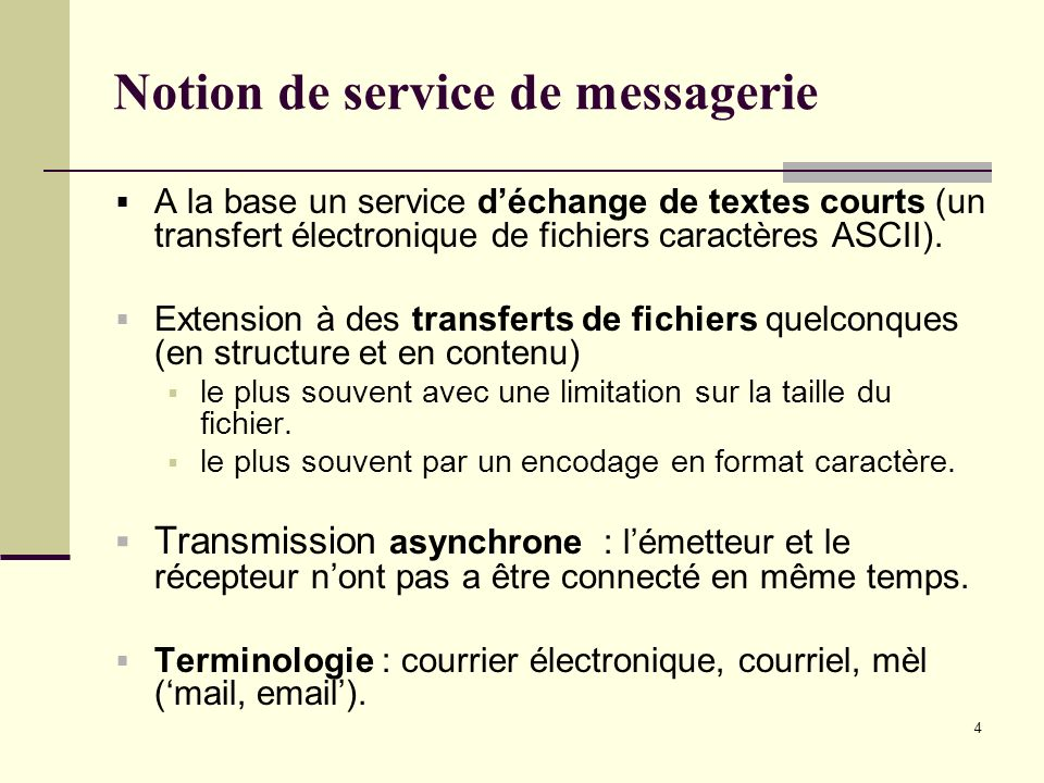 Notion de service de messagerie