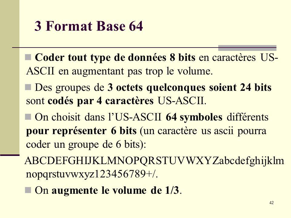 3 Format Base 64 Coder tout type de données 8 bits en caractères US-ASCII en augmentant pas trop le volume.