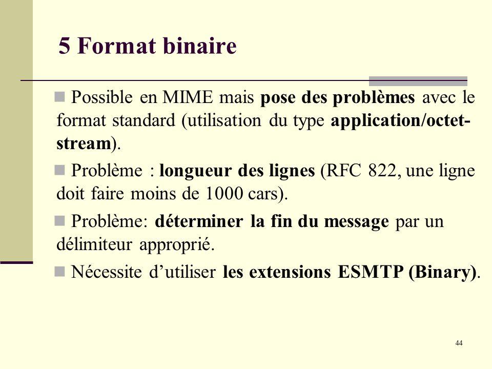 5 Format binaire Possible en MIME mais pose des problèmes avec le format standard (utilisation du type application/octet-stream).