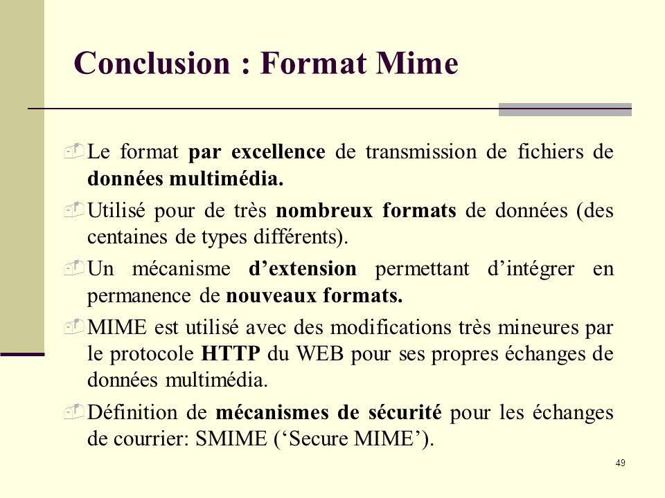 Conclusion : Format Mime