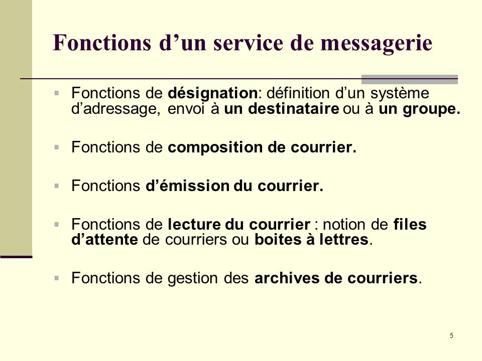 Fonctions d'un service de messagerie