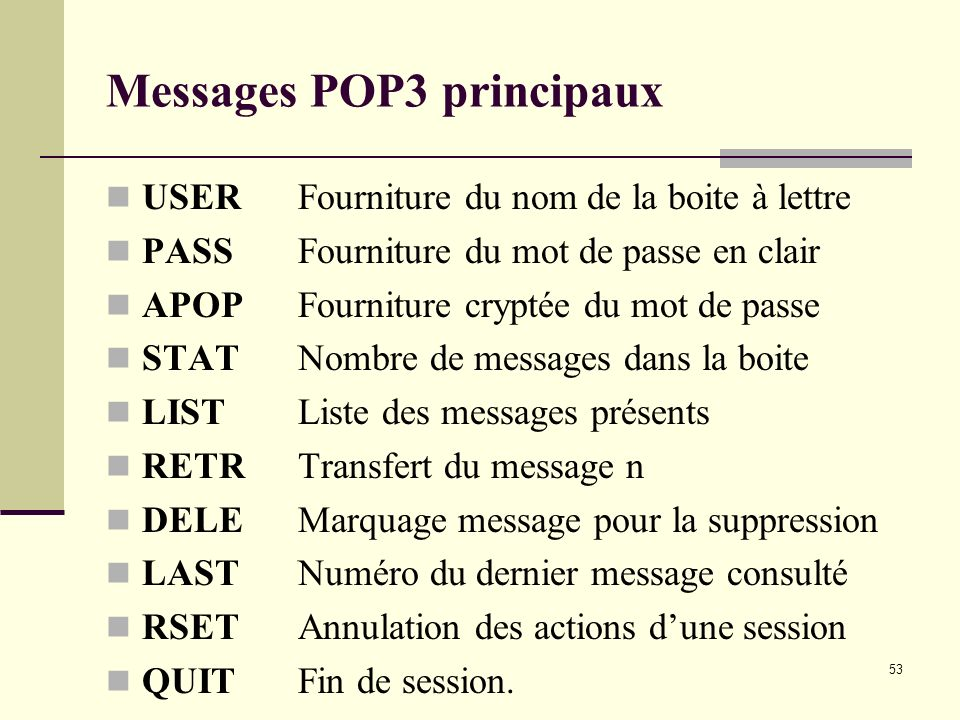 Messages POP3 principaux