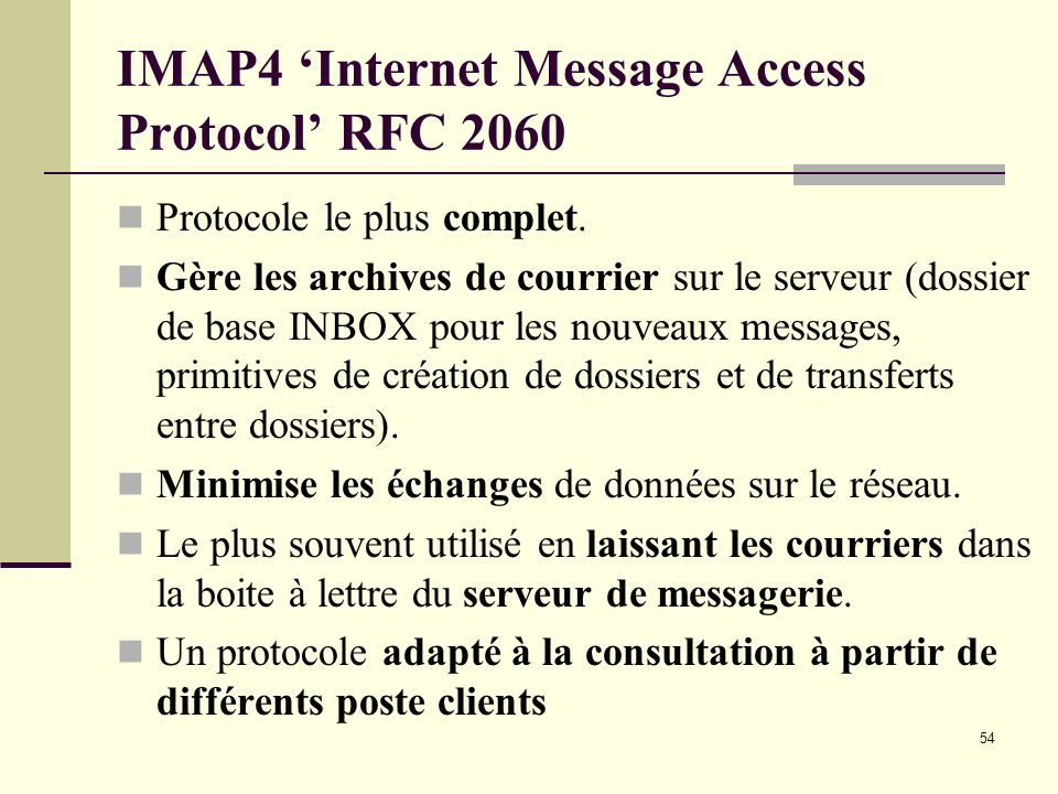 IMAP4 'Internet Message Access Protocol' RFC 2060