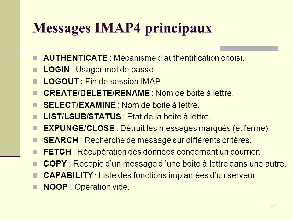 Messages IMAP4 principaux
