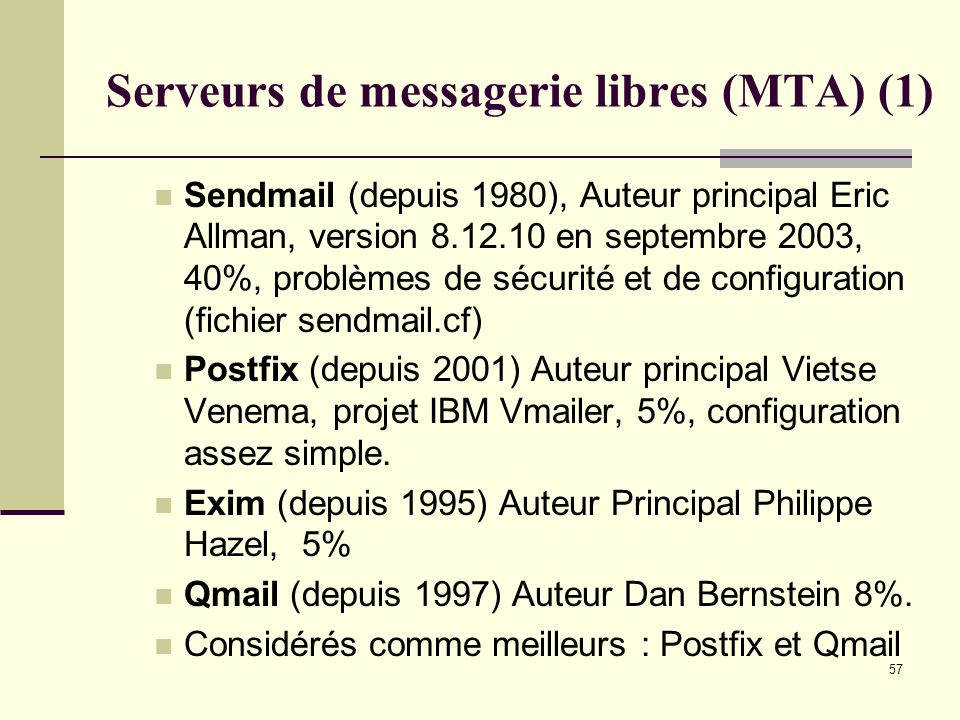 Serveurs de messagerie libres (MTA) (1)