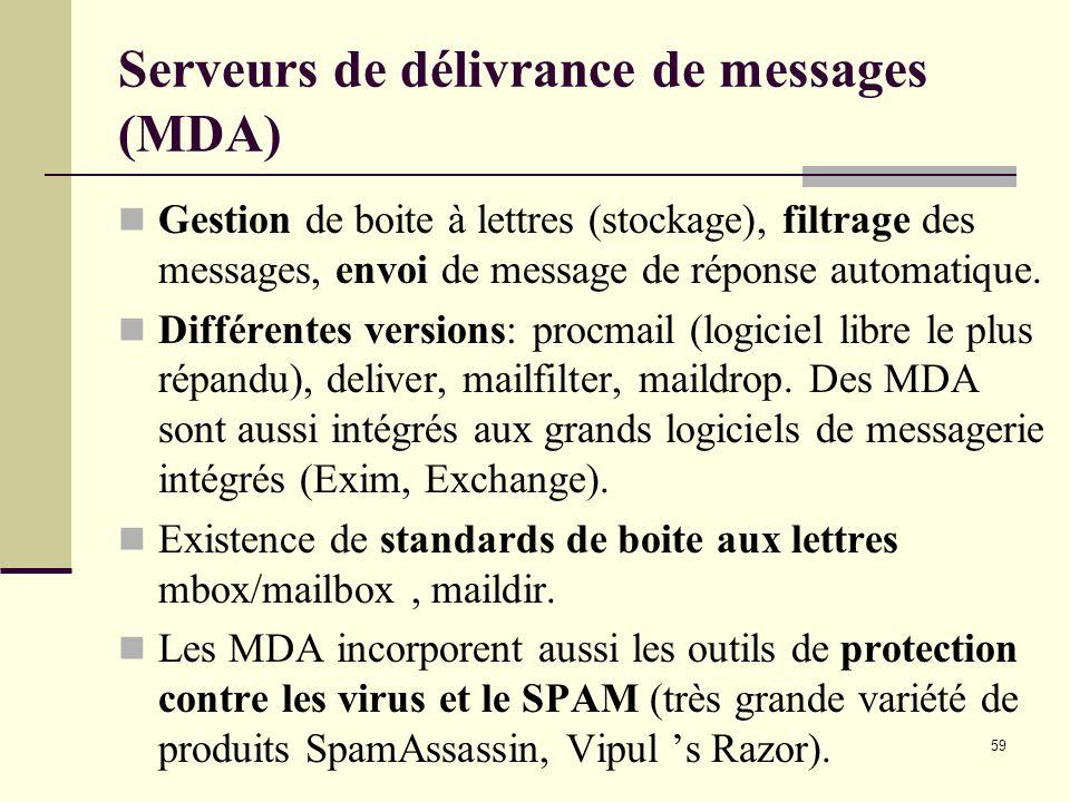 Serveurs de délivrance de messages (MDA)