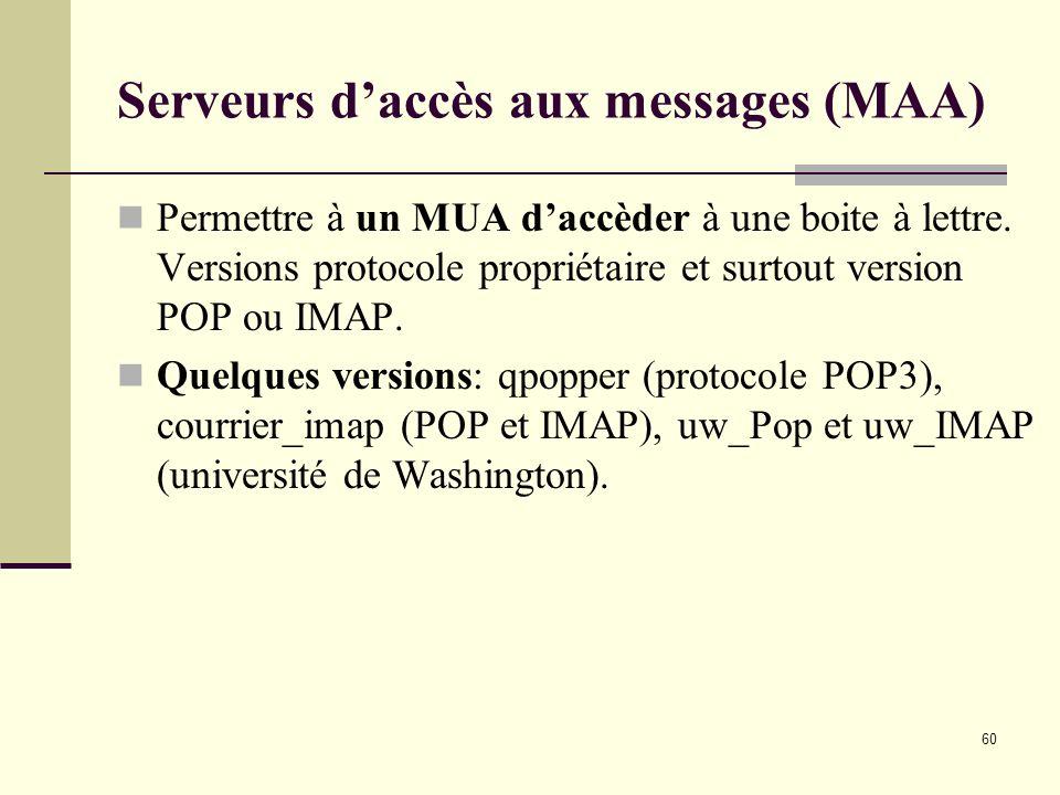 Serveurs d'accès aux messages (MAA)