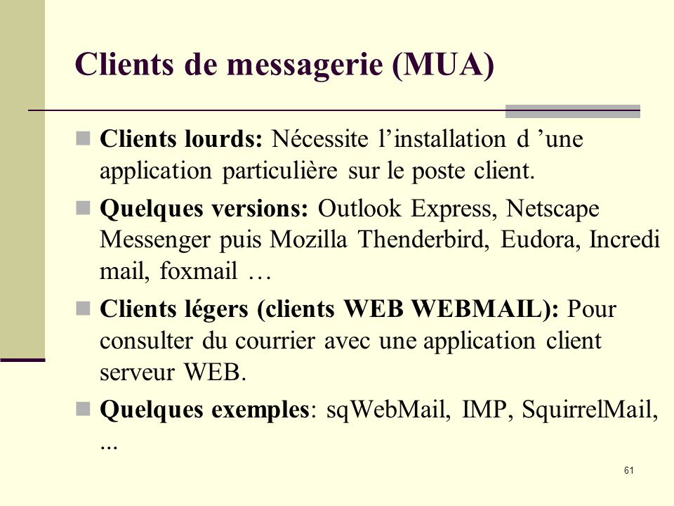 Clients de messagerie (MUA)
