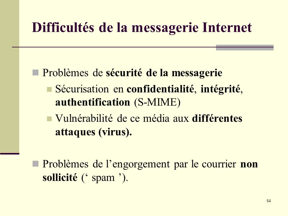 Difficultés de la messagerie Internet