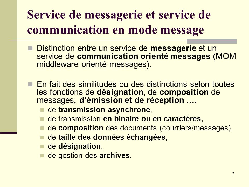 Service de messagerie et service de communication en mode message