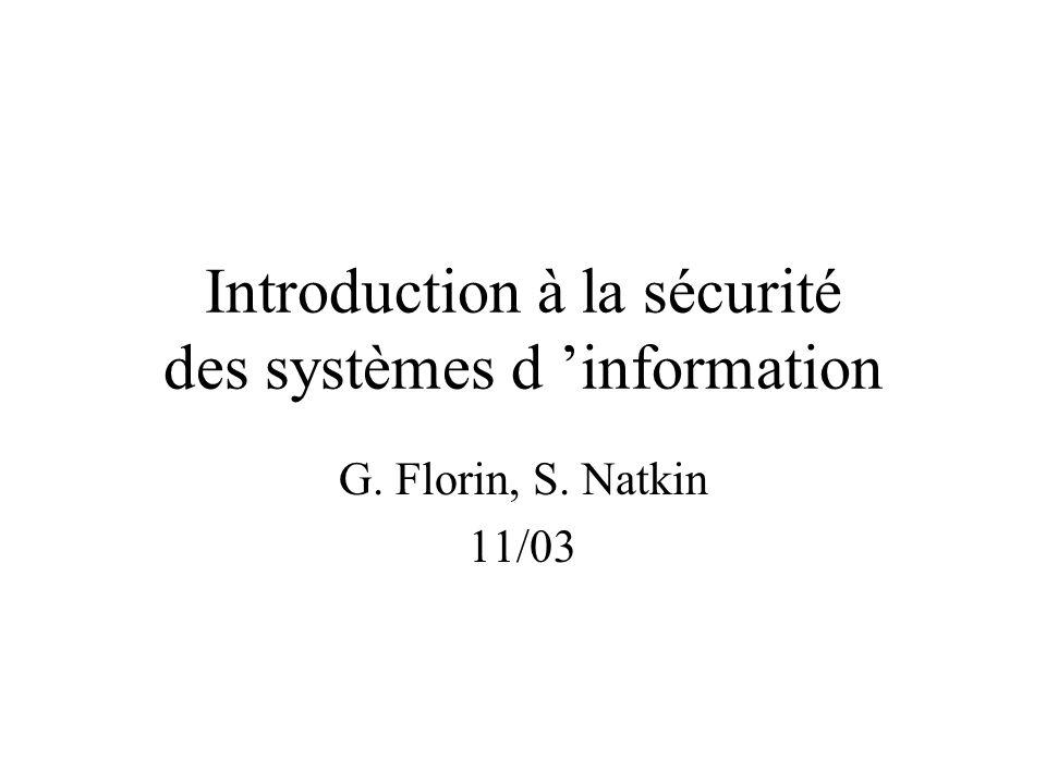 Introduction à la sécurité des systèmes d 'information