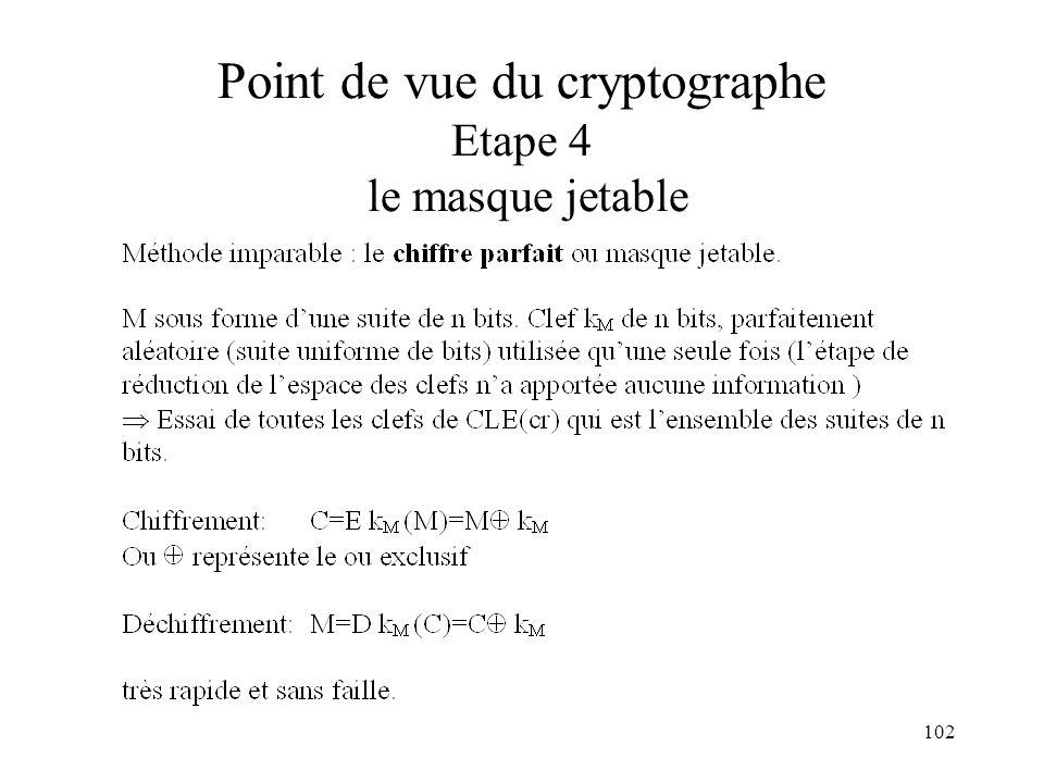 Point de vue du cryptographe Etape 4 le masque jetable