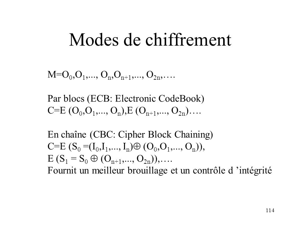 Modes de chiffrement M=O0,O1,..., On,On+1,..., O2n,….