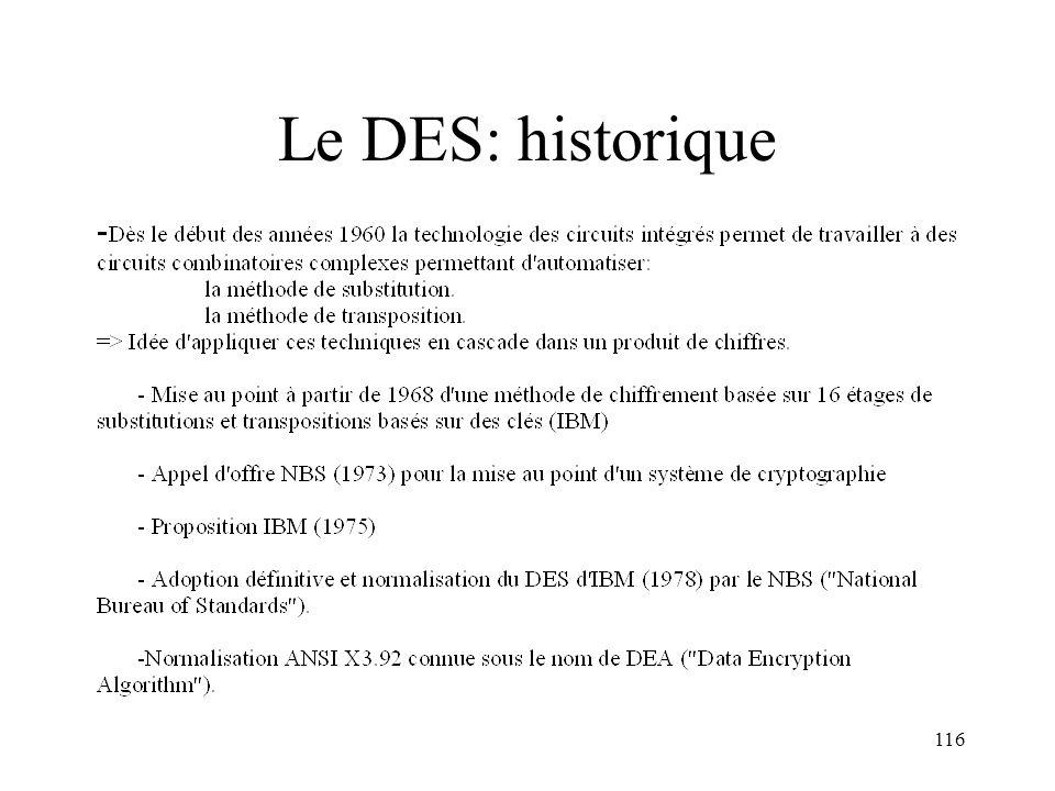 Le DES: historique