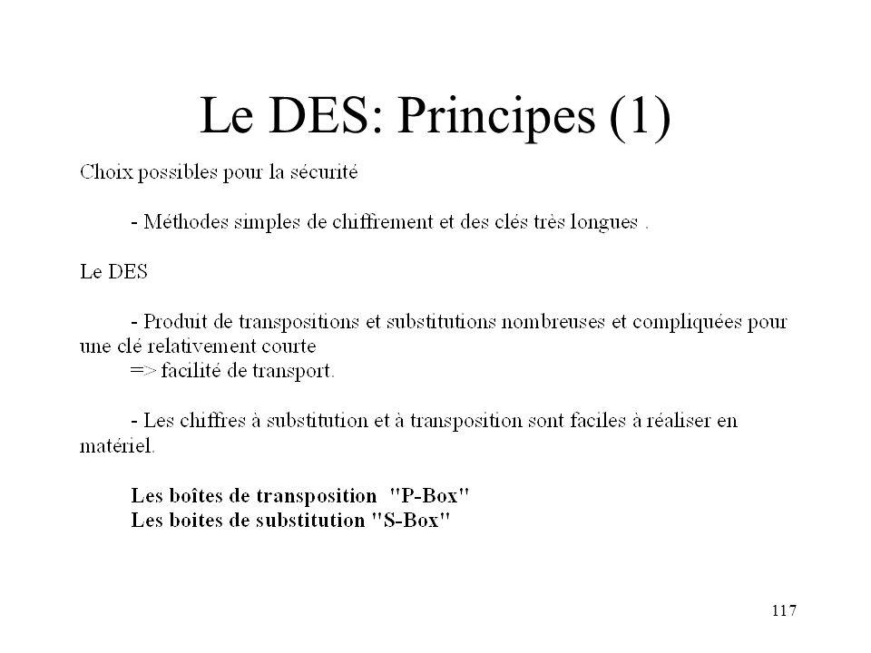 Le DES: Principes (1)