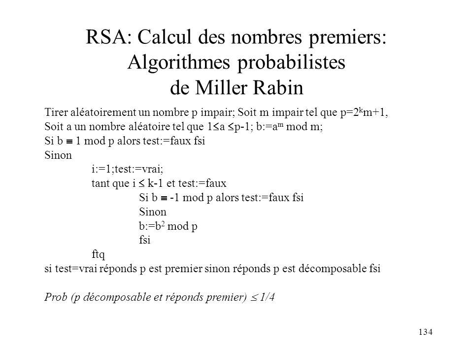 RSA: Calcul des nombres premiers: Algorithmes probabilistes de Miller Rabin