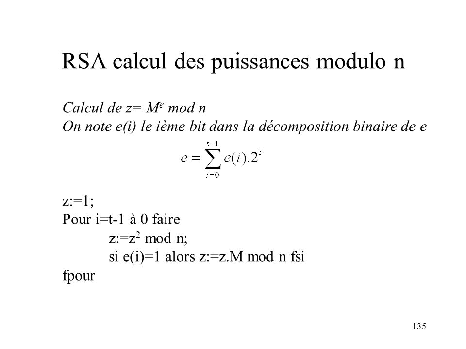 RSA calcul des puissances modulo n