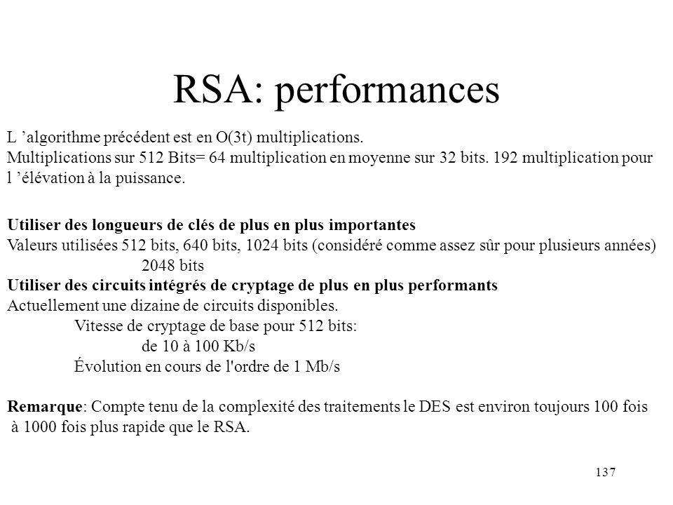 RSA: performances L 'algorithme précédent est en O(3t) multiplications.