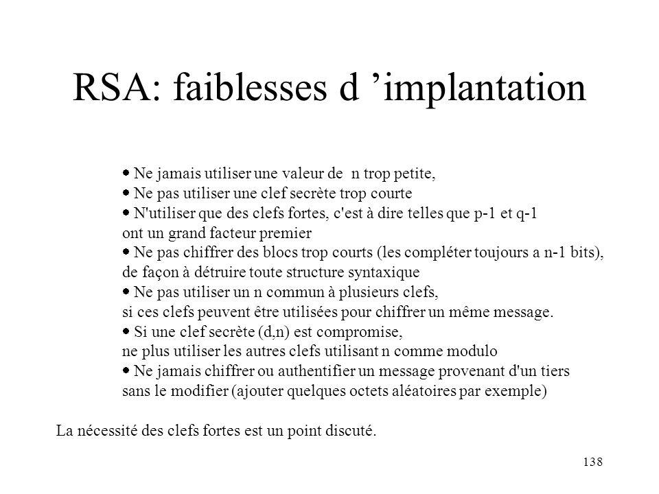 RSA: faiblesses d 'implantation