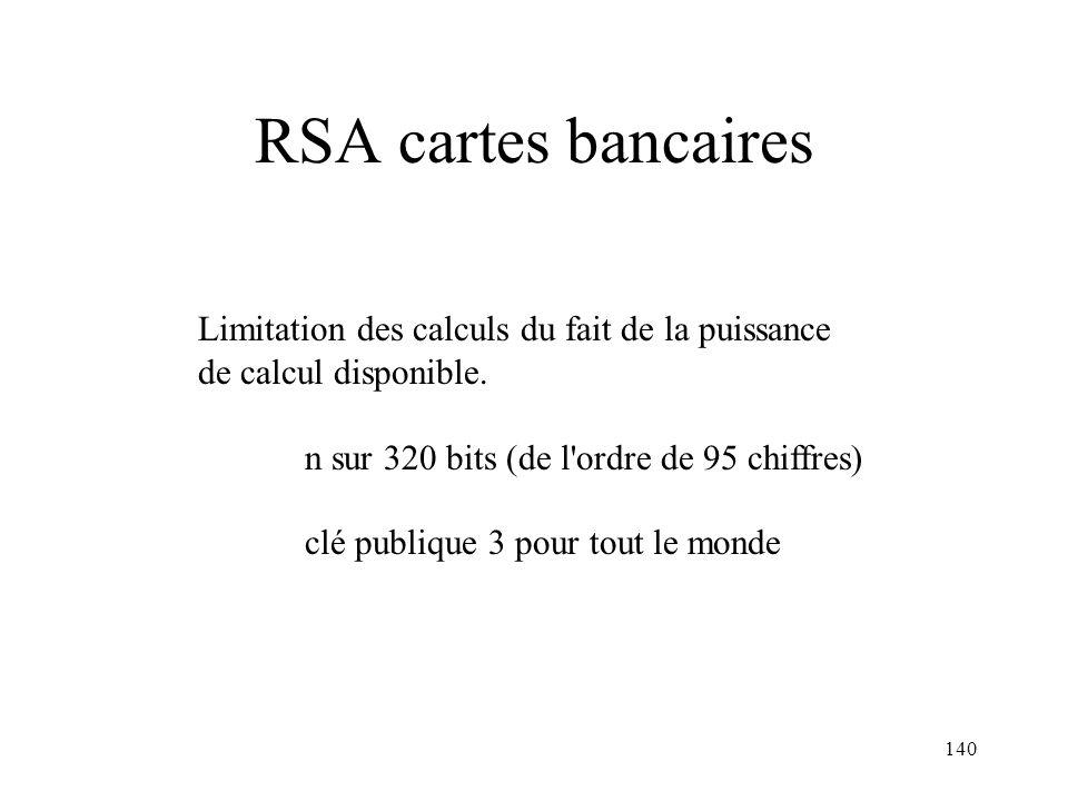 RSA cartes bancaires Limitation des calculs du fait de la puissance